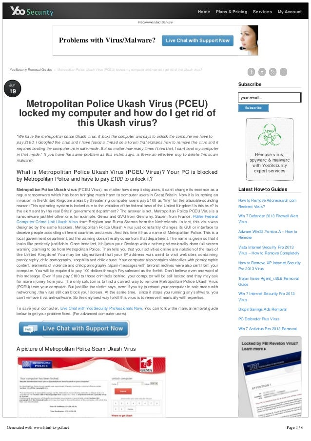 Remove Metropolitan Police Virus - PCEU Locked Computer Virus Removal