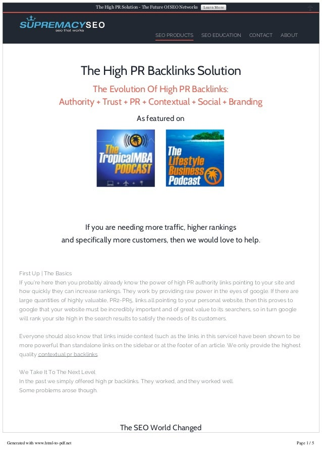 The High PR Solution ­ The Future Of SEO Networks  SEO PRODUCTS  Learn More  SEO EDUCATION  CONTACT  ABOUT  The High PR Ba...