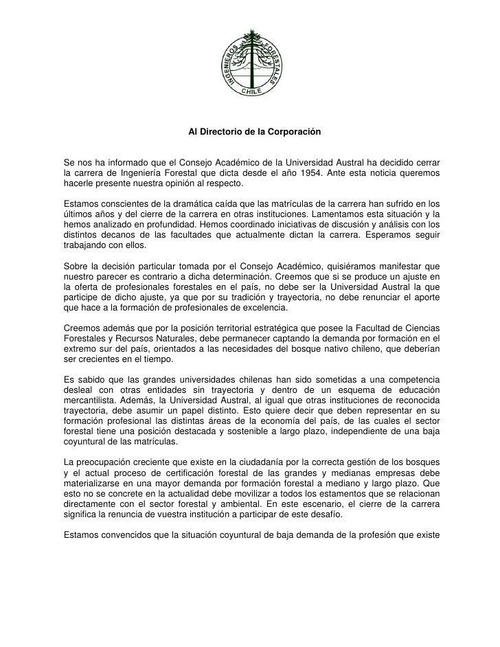 Al Directorio de la CorporaciónSe nos ha informado que el Consejo Académico de la Univers...