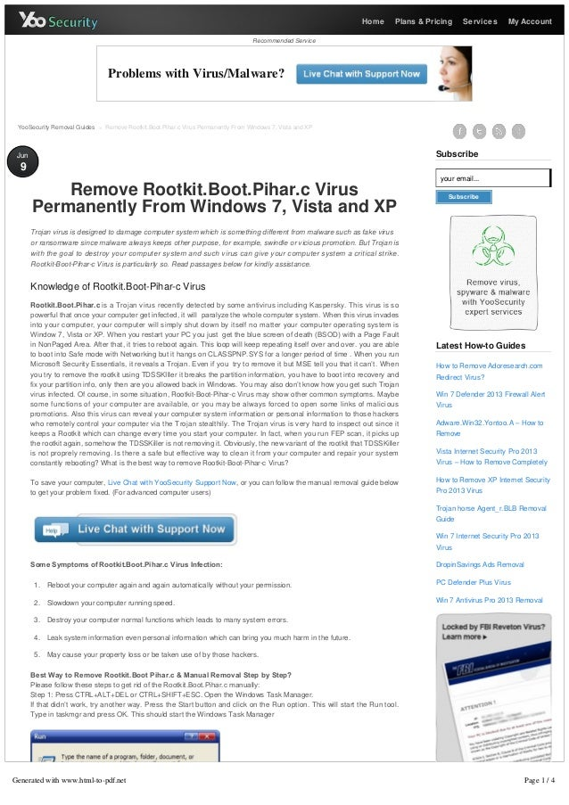 Remove Rootkit.Boot.Pihar.c Virus Permanently From Windows 7, Vista and XP - YooSecurity Removal Guides
