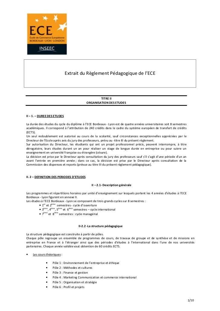 Extrait du Règlement Pédagogique de l'ECE                                                     TITRE II                    ...