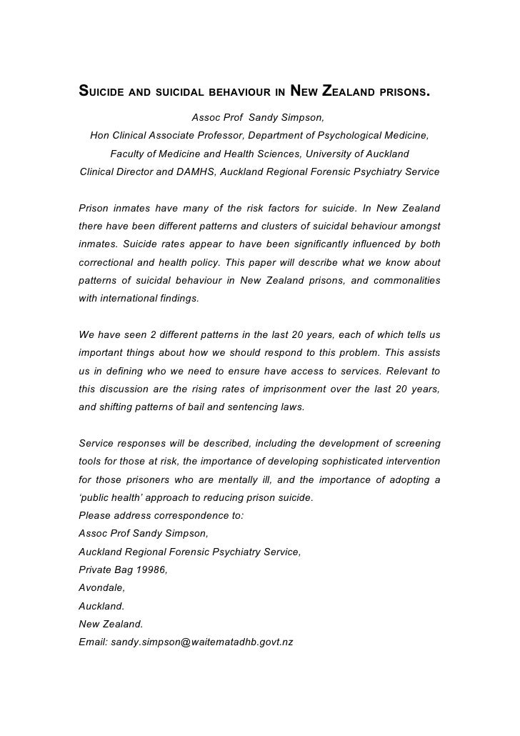 SUICIDE AND SUICIDAL BEHAVIOUR IN NEW ZEALAND PRISONS.                          Assoc Prof Sandy Simpson,  Hon Clinical As...