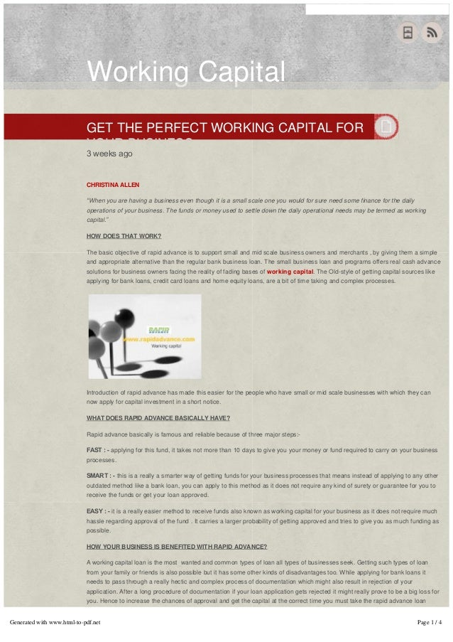 "Working CapitalGET THE PERFECT WORKING CAPITAL FORYOUR BUSINESS3 weeks ago   CHRISTINA ALLEN""When you are having a busines..."