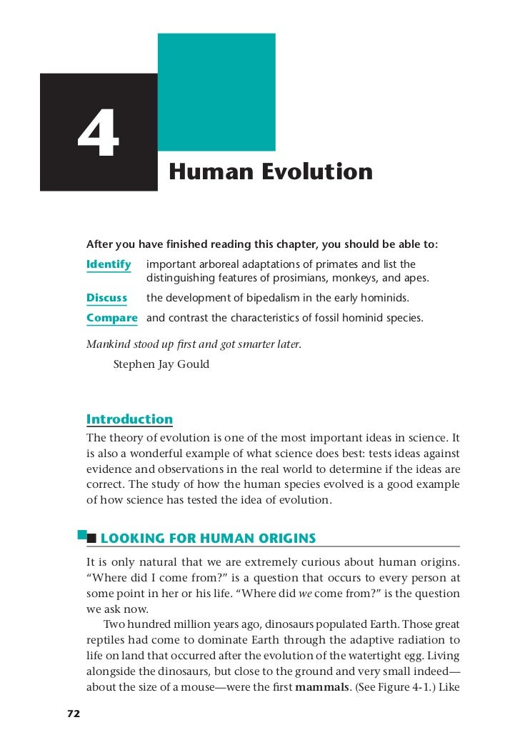4                   Human Evolution     After you have finished reading this chapter, you should be able to:     Identify  ...