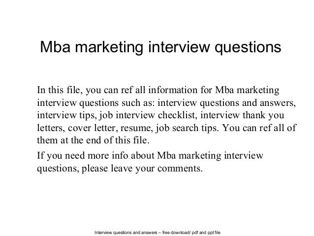 Mba marketing interview questions