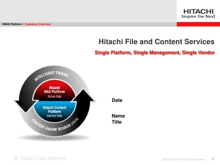 HNAS Platform ► Customer Overview                                          Hitachi File and Content Services              ...