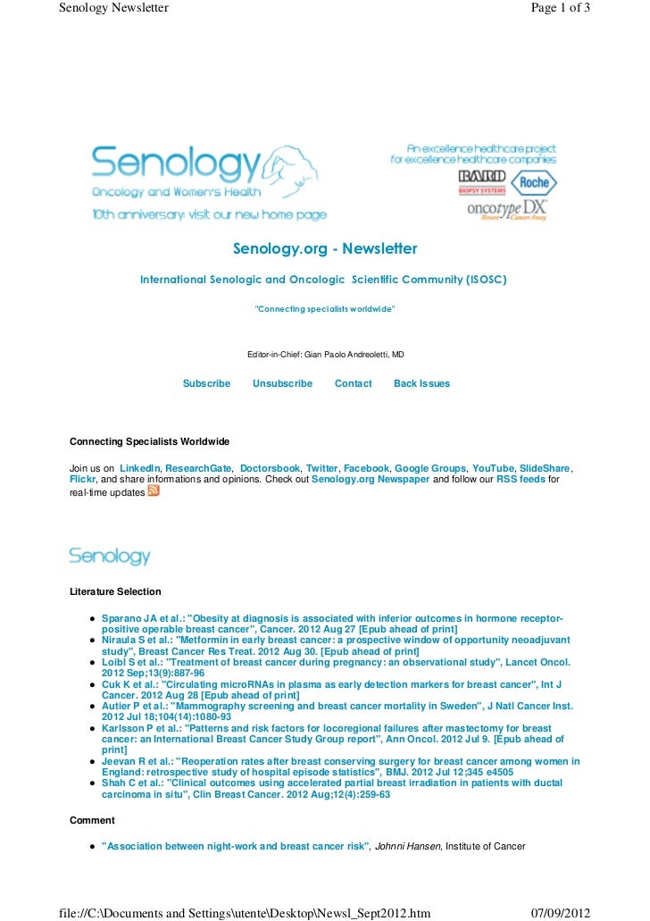 Senology.org Newsletter - September 7, 2012