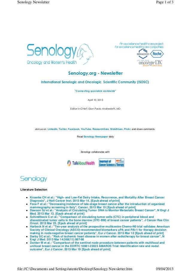 Senology Newsletter - April 10, 2013