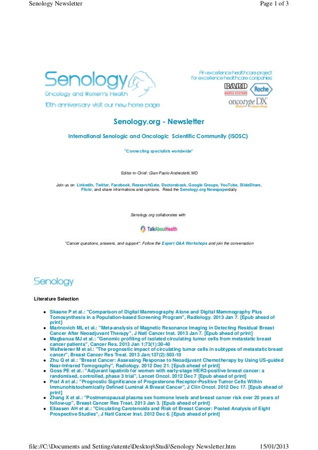 Senology Newsletter - January 15, 2013