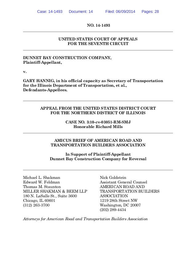 NO. 14-1493 UNITED STATES COURT OF APPEALS FOR THE SEVENTH CIRCUIT DUNNET BAY CONSTRUCTION COMPANY, Plaintiff-Appellant, v...