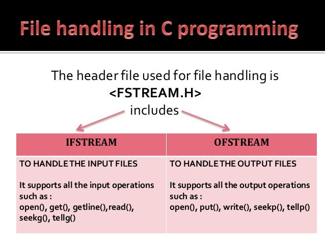 write a statement includes header files fstream string iomanip Note: this material is adapted from chapters 11 and 14 of c++: how to program by deitel and deitel the commands for writing data to a file are (for the most part) very similar to those used to write data to the screen however, there are some important distinctions which will be addressed in this document in order for your program to write to a file, you must: include the fstream header.