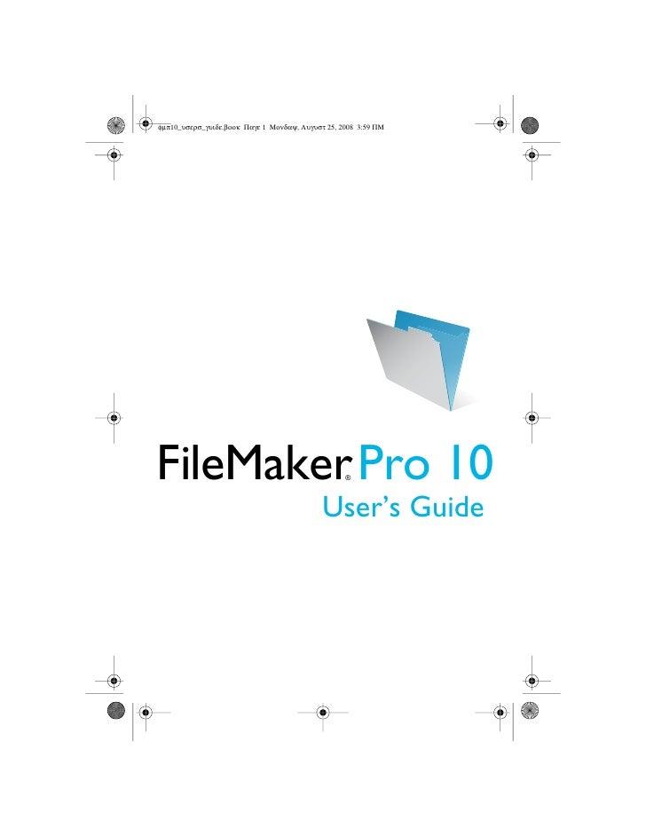 FileMaker Pro 10 - User's Guide