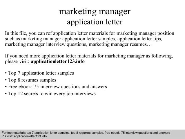 letter of application for marketing manager It is with a high-level of interest that i submit my application for the position of assistant marketing manager posted on linkedin my effective.