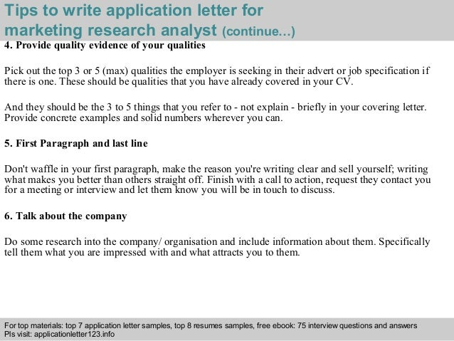 Market Research Analyst Cover Letter