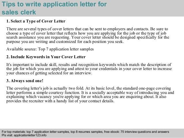 sales clerk application letter