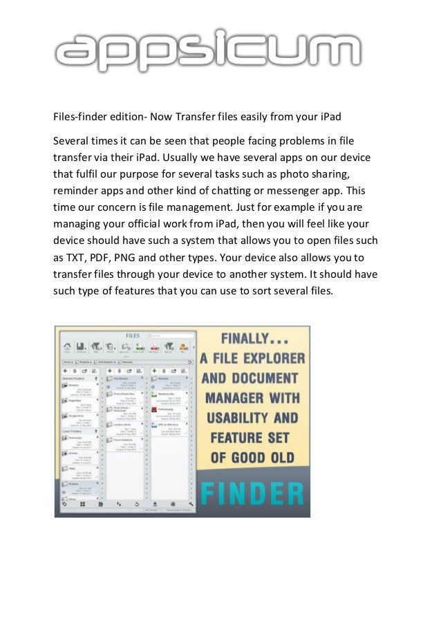 Files-finder edition- Now Transfer files easily from your iPad Several times it can be seen that people facing problems in...