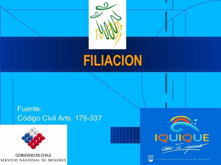 FILIACION Fuente:  Código Civil Arts. 179-337