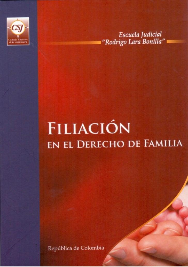 PROGRAMA DE FORMACIÓN JUDICIAL ESPECIALIZADA          PARA EL ÁREA DE FAMILIA      FILIACIÓN EN EL DERECHO DE FAMILIA