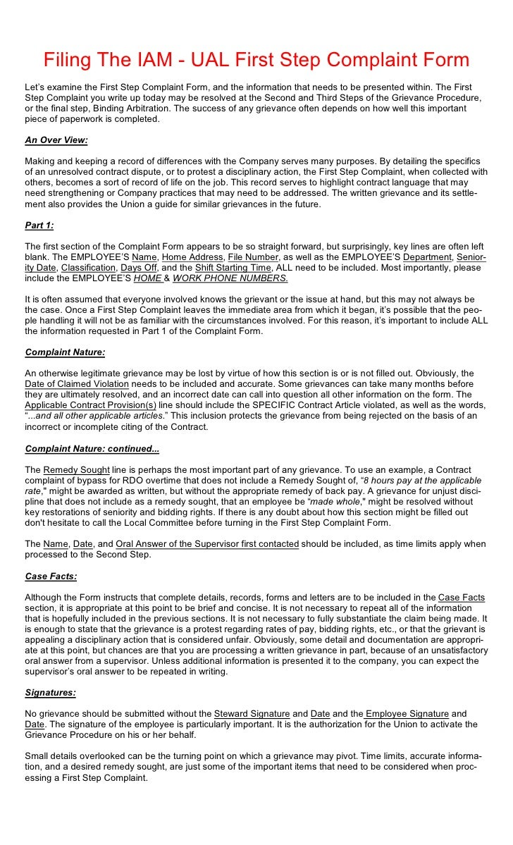 Filing The IAM - UAL First Step Complaint FormLet's examine the First Step Complaint Form, and the information that needs ...
