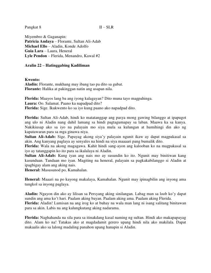 Pangkat 8II – SLR<br />Miyembro & Gaganapin:<br />Patricia Andaya – Florante, Sultan Ali-Adab<br />Michael Ello – Aladin, ...