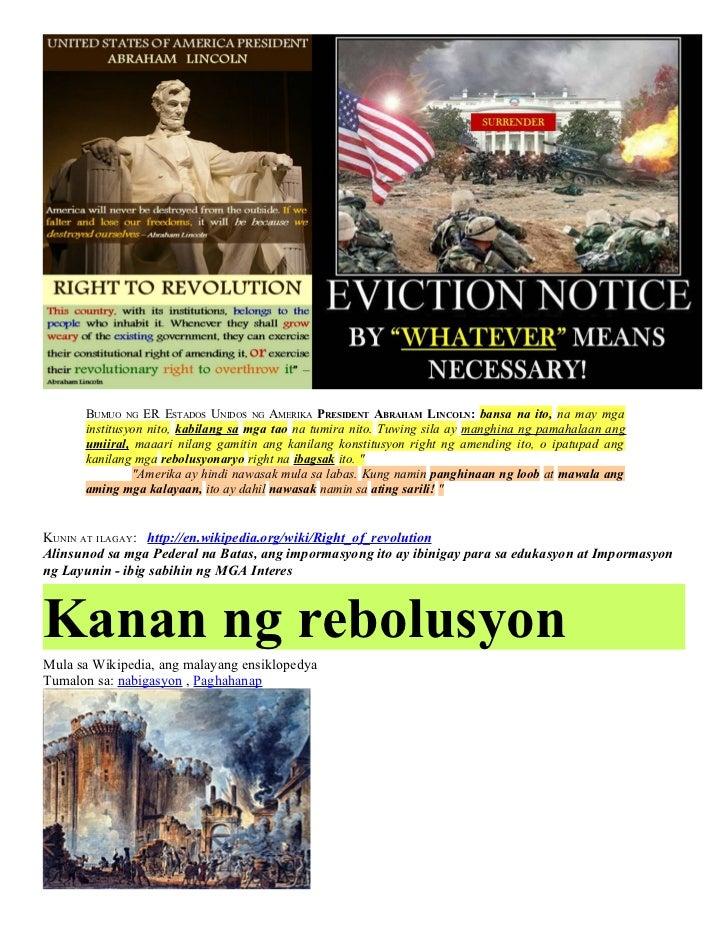 Filipino   Right of REVOLUTION & Political CORRUPTION