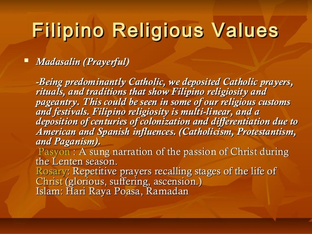 Culture Filipino Values Filipino Religious Values