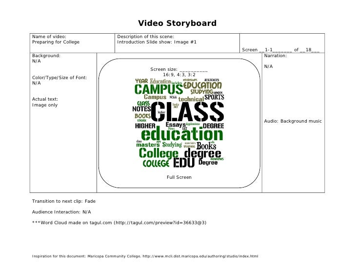 Video StoryboardName of video:                               Description of this scene:Preparing for College              ...