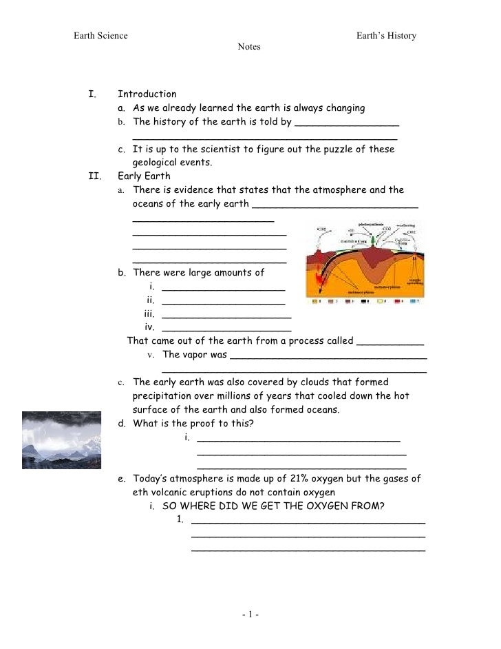 Earth Science                                              Earth's History                                   Notes       I...