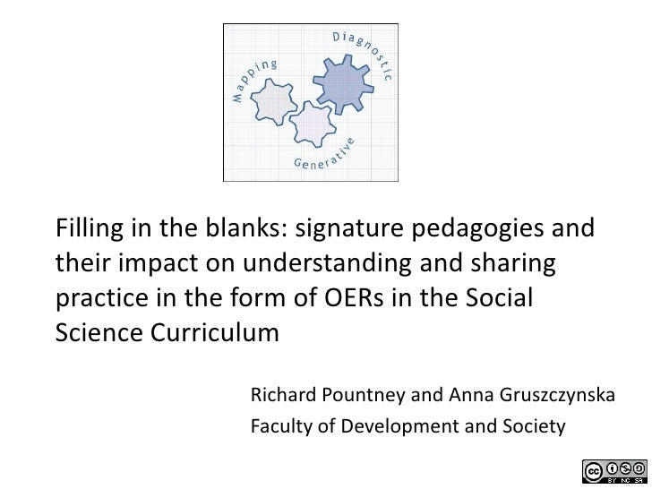 Filling in the blanks: signature pedagogies andtheir impact on understanding and sharingpractice in the form of OERs in th...