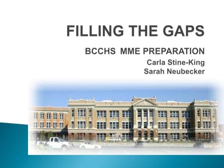 FILLING THE GAPSBCCHSMME PREPARATIONCarla Stine-KingSarah Neubecker<br />