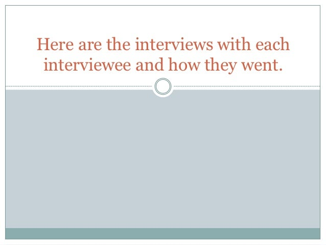Here are the interviews with each interviewee and how they went.
