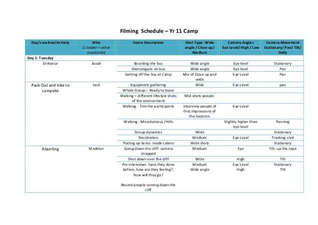 Filming  schedule 2013