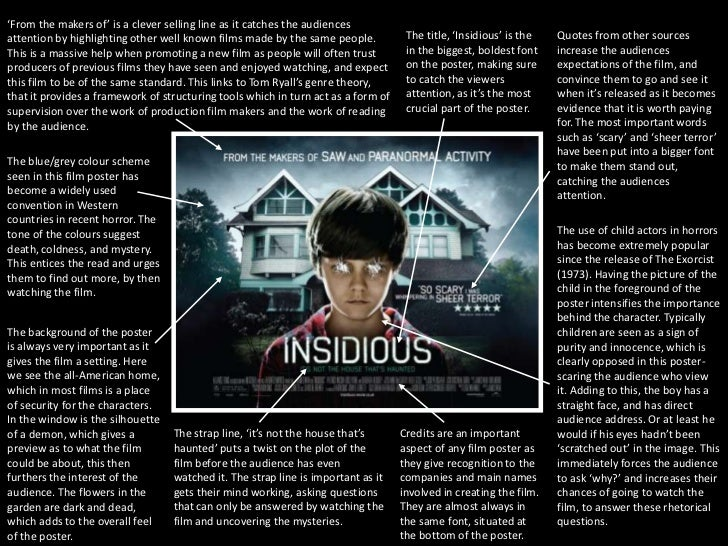 film studies movie analysis insidious Between the conjuring 1 and 2, the annabelle films, and the upcoming the nun and the crooked man, we've got a new connected film universe with director and producer but while the warrens star in the conjuring movies, the wan-iverse has expanded beyond wilson and farmiga's characters.
