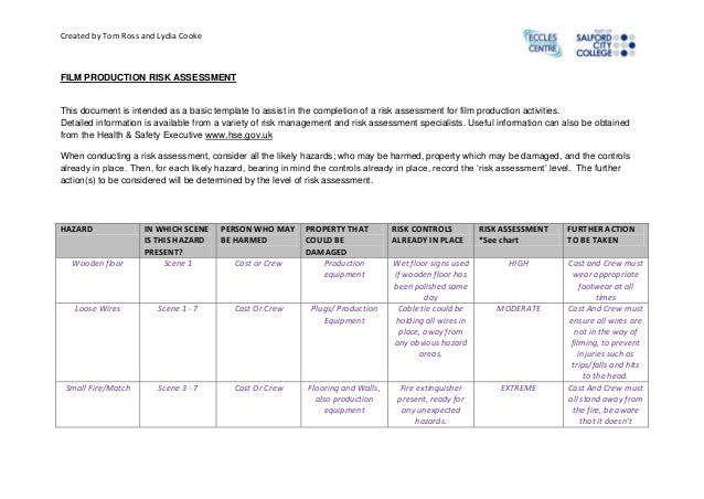 Created by Tom Ross and Lydia Cooke  FILM PRODUCTION RISK ASSESSMENT  This document is intended as a basic template to ass...