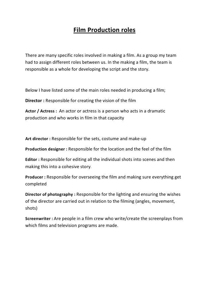Film Production Roles