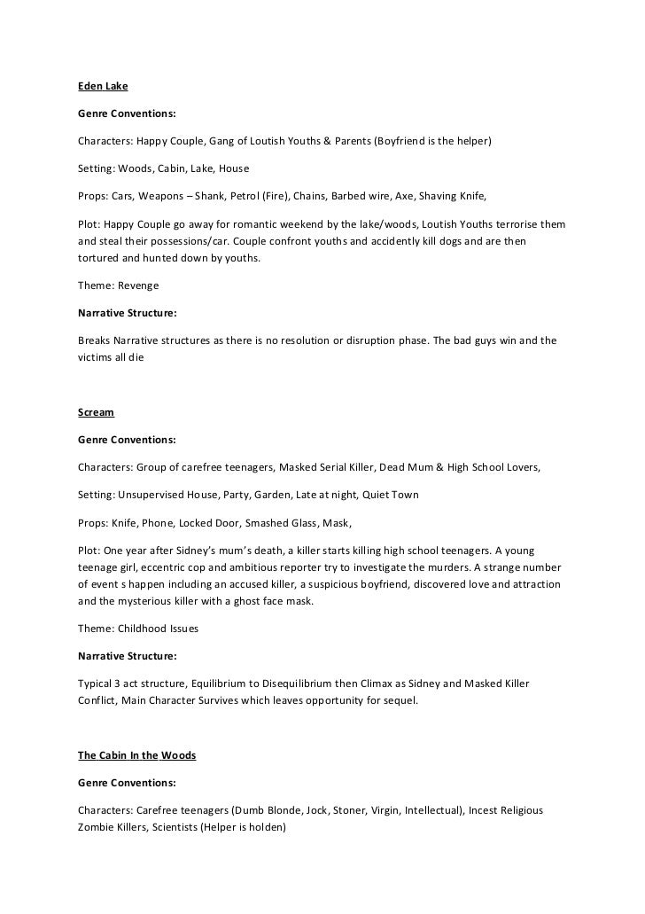 Eden LakeGenre Conventions:Characters: Happy Couple, Gang of Loutish Youths & Parents (Boyfriend is the helper)Setting: Wo...