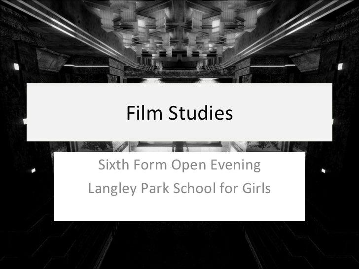 Film Studies Open Evening Presentation