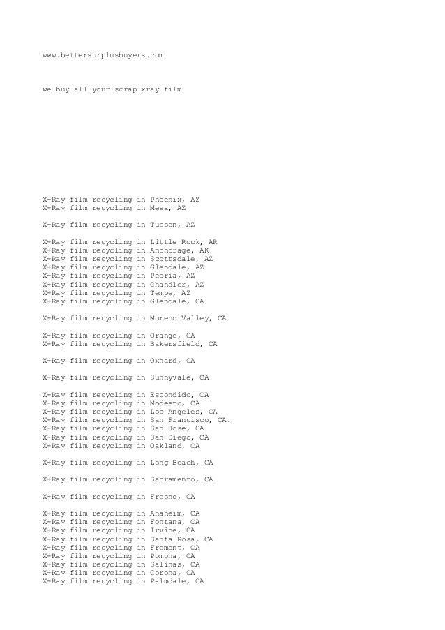 x-ray film recycling 1877-764-0082