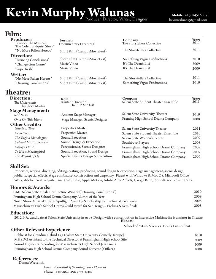 film theatre resume of kevin murphy walunas With film director resume