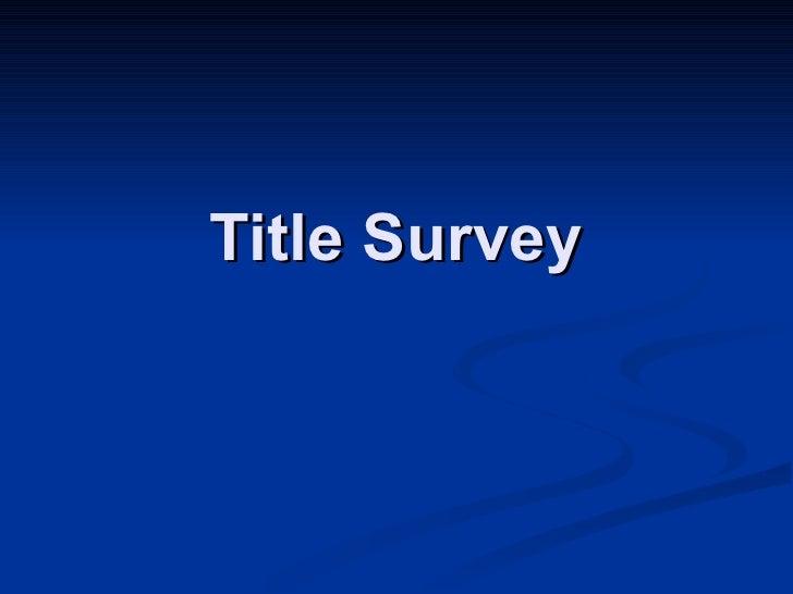 Title Survey
