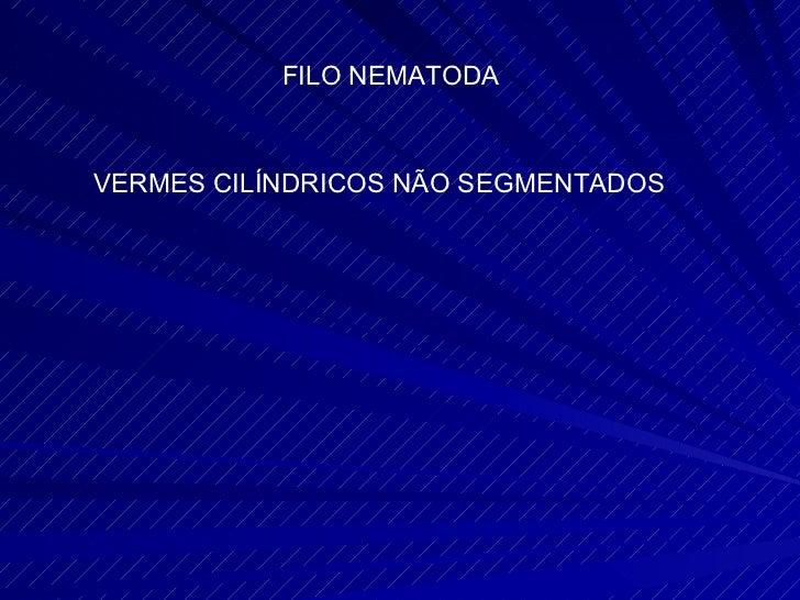 FILO NEMATODA VERMES CILÍNDRICOS NÃO SEGMENTADOS