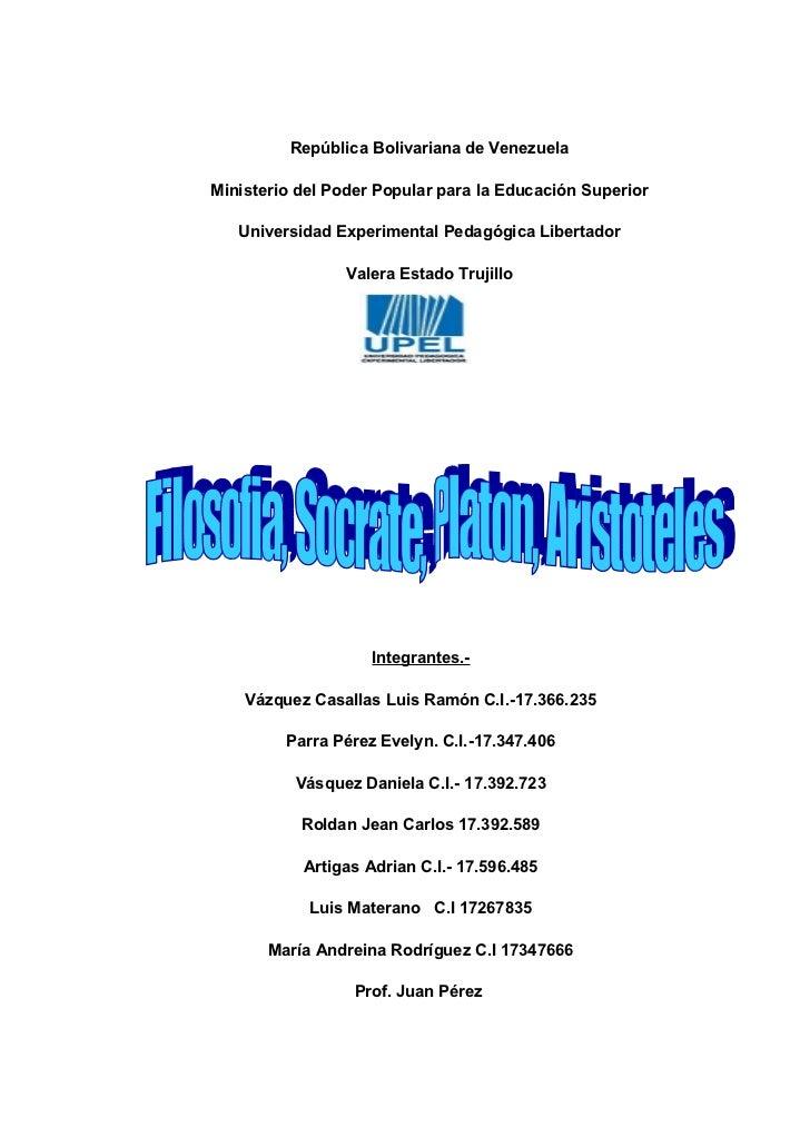 República Bolivariana de Venezuela  Ministerio del Poder Popular para la Educación Superior     Universidad Experimental P...