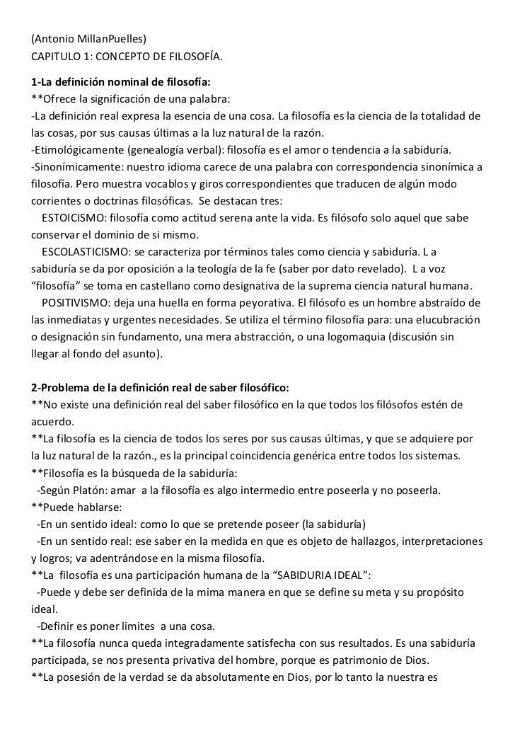 (Antonio MillanPuelles)CAPITULO 1: CONCEPTO DE FILOSOFÍA.1-La definición nominal de filosofía:**Ofrece la significación de...