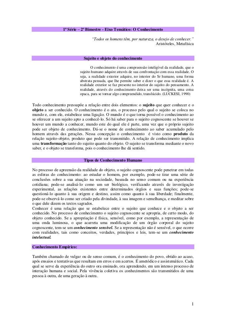 Filosofia   2º bimestre -1ª série - o conhecimento