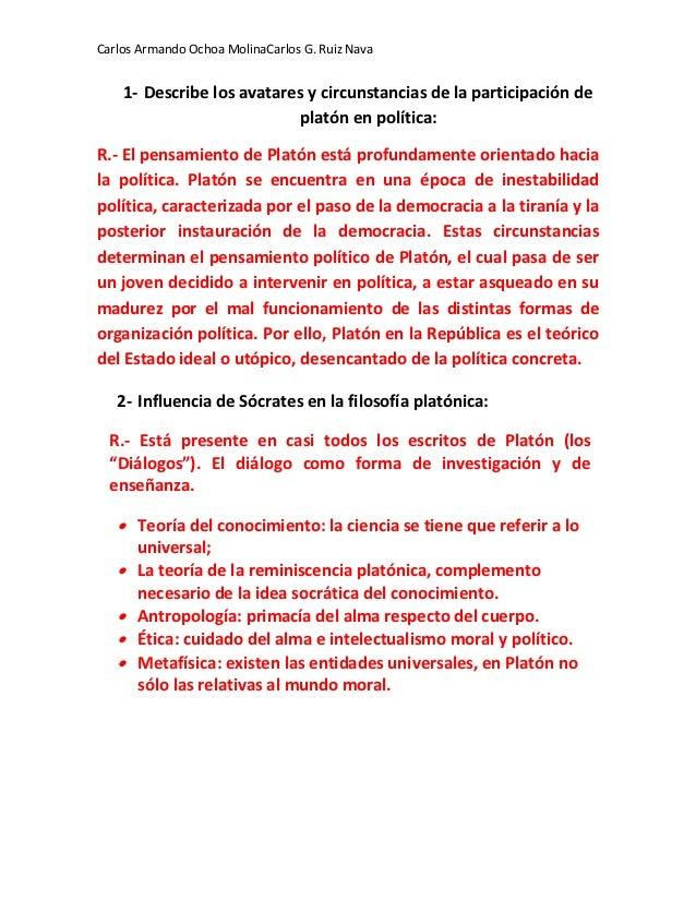 Carlos Armando Ochoa MolinaCarlos G. Ruiz Nava    1- Describe los avatares y circunstancias de la participación de        ...