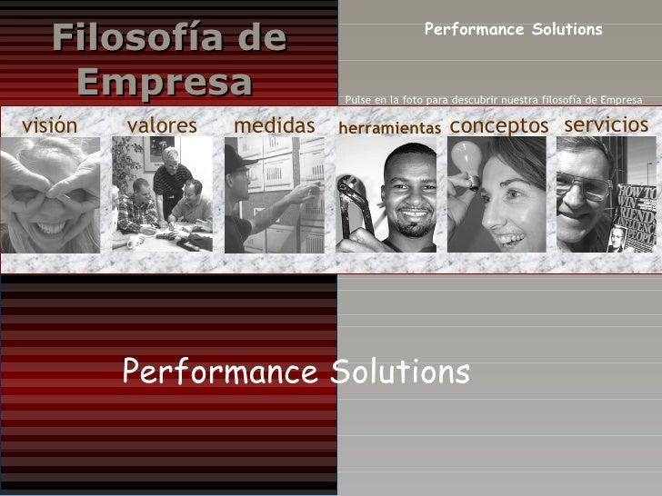 visión valores medidas herramientas conceptos servicios Performance Solutions