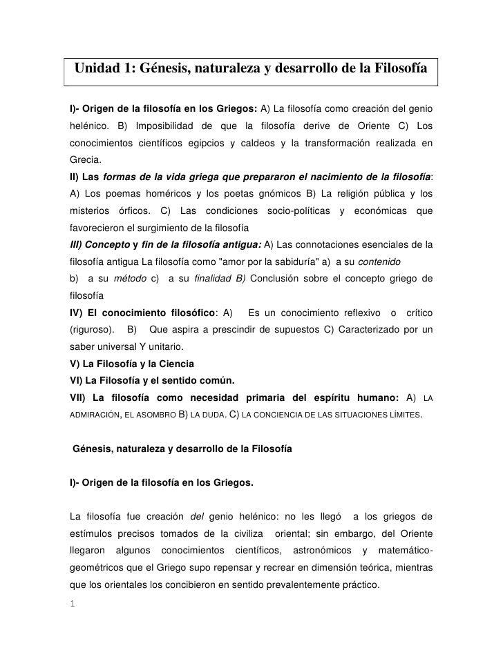 Unidad 1: Génesis, naturaleza y desarrollo de la FilosofíaI)- Origen de la filosofía en los Griegos: A) La filosofía como ...
