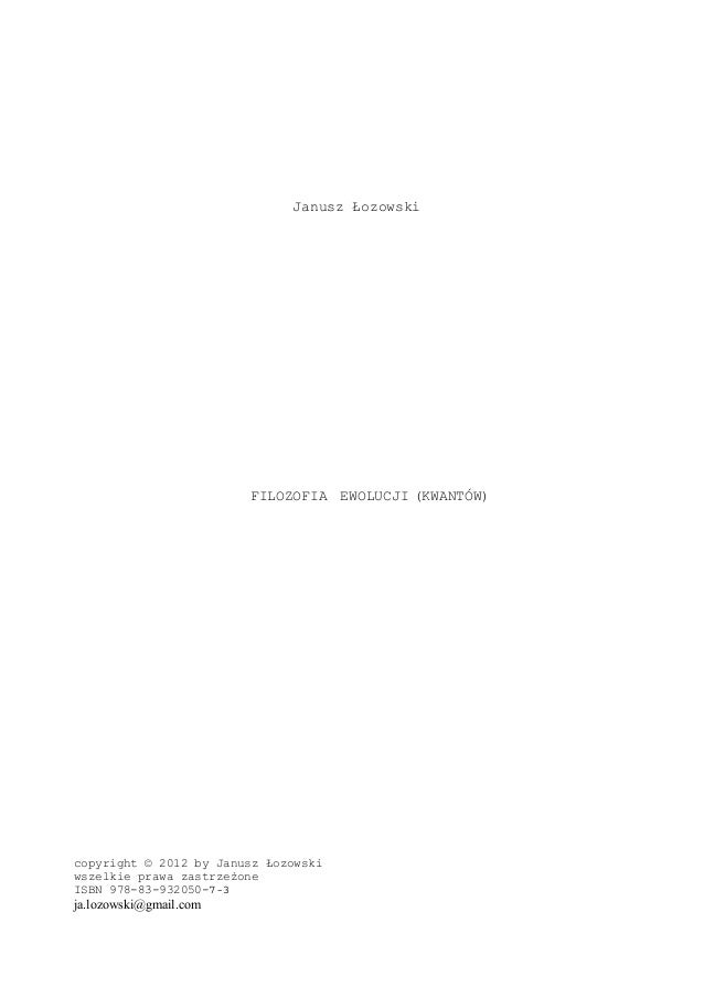 Filozofia ewolucji (kwantów) 1