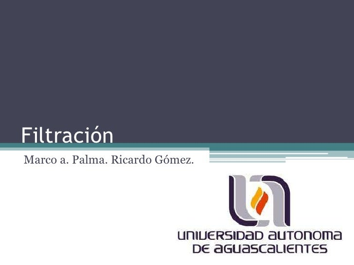 Filtración<br />Marco a. Palma. Ricardo Gómez.<br />