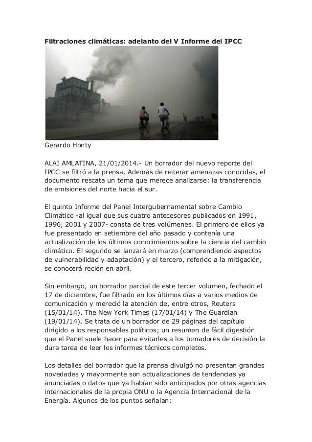 Filtraciones climáticas: adelanto del V Informe del IPCC